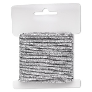 cord, stretch, polyester and elastic, silver with glitter, 1.5mm diameter. sold per 10-yard card.