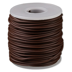 cord, synthetic rubber, brown, 2mm round. sold per pkg of 25 meters (82 feet).