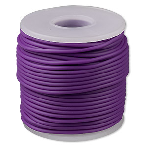 cord, synthetic rubber, purple, 2mm round. sold per pkg of 25 meters (82 feet).