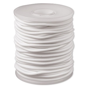 cord, synthetic rubber, white, 2.5mm round. sold per pkg of 25 meters (82 feet).
