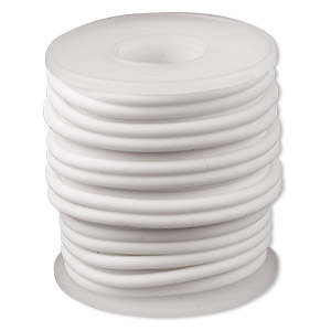 cord, synthetic rubber, white, 3mm round. sold per pkg of 10 meters (32.8 feet).