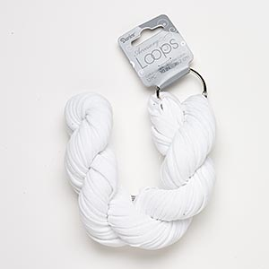 cord, tee shirt, cotton and silver-finished steel, white, 20-24mm wide with 44mm ring, 30-inch continuous loop. sold per pkg of 12.