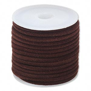 cord, velveteen and rubber, brown, 3mm round with 1-1.5mm hole. sold per 25-foot spool.