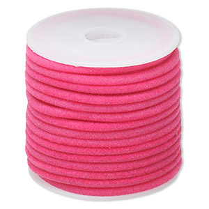 cord, velveteen and rubber, pink, 3mm round with 1-1.5mm hole. sold per 25-foot spool.