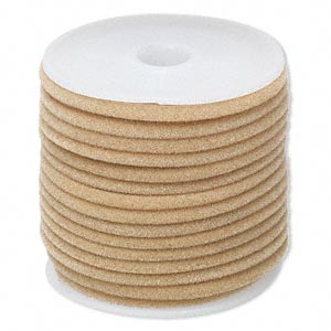cord, velveteen and rubber, tan, 3mm round with 1-1.5mm hole. sold per 25-foot spool.