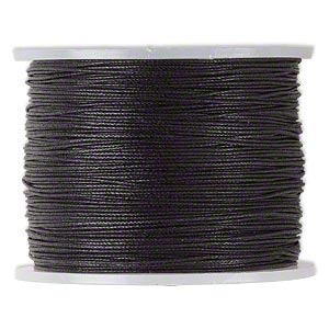 cord, waxed cotton, black, 0.5mm. sold per 25-meter spool.