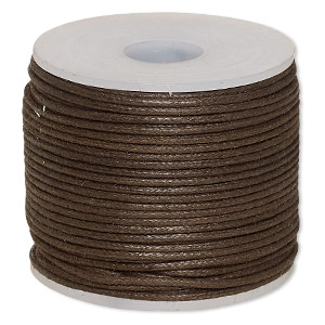 cord, waxed cotton, brown, 1mm. sold per 25-meter spool.