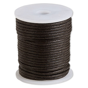 cord, waxed cotton, brown, 2mm. sold per 25-meter spool.
