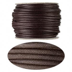 cord, waxed cotton, brown, 3mm round. sold per 25-yard spool.