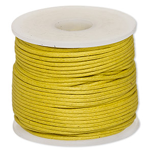 cord, waxed cotton, gold, 1mm. sold per 25-meter spool.