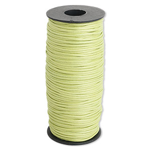 cord, waxed cotton, lemon green, 2mm. sold per 100-meter spool.