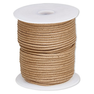 cord, waxed cotton, light brown, 2mm. sold per 25-meter spool.