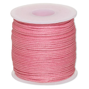 cord, waxed cotton, light pink, 0.5mm. sold per 25-meter spool.
