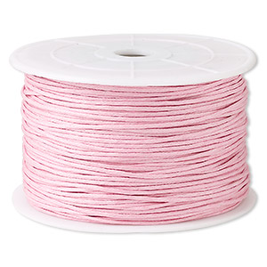 cord, waxed cotton, light pink, 1mm. sold per 100-meter spool.