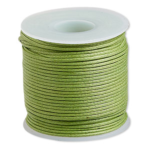 cord, waxed cotton, lime, 0.5mm. sold per 25-meter spool.