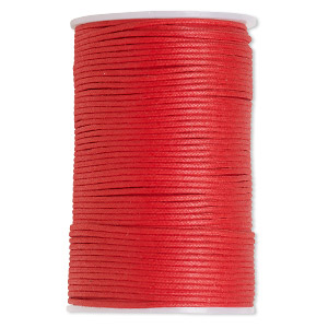 cord, waxed cotton, red, 2mm. sold per 100-meter spool.