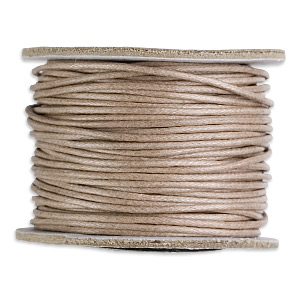 cord, waxed cotton, tan, 1mm round. sold per 25-yard spool.