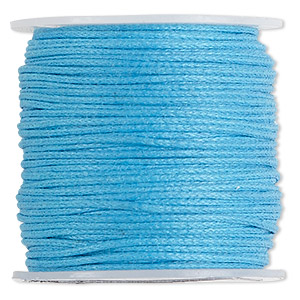 cord, waxed cotton, turquoise blue, 0.5mm. sold per 100-meter spool.