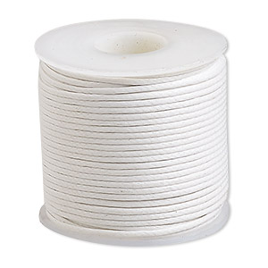 cord, waxed cotton, white, 0.5mm. sold per 25-meter spool.