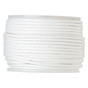 cord, waxed cotton, white, 2mm. sold per 100-meter spool.
