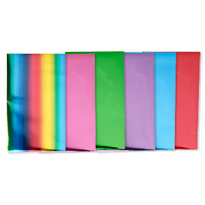 craft foil, lisa pavelka, aluminum and mylar, bold  bright collection, 8x4-3/4 inch rectangle. sold per pkg of 6.
