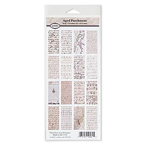 crafting paper, piddix, matte multicolored, 9-1/2 x 4-1/2 inches with (16) 1-7/8 x 7/8 inch single-sided rectangle with aged parchment patterns. sold individually.
