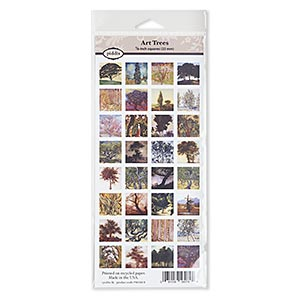 crafting paper, piddix, matte multicolored, 9-3/4 x 4-1/4 inches with (32) 7/8 x 7/8 inch single-sided square with art trees patterns. sold individually.