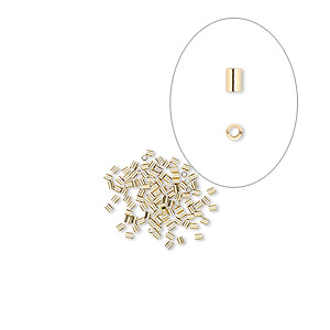 crimp, 14kt gold-filled, 2x1.6mm smooth round tube, 1.1mm inside diameter. sold per pkg of 10.