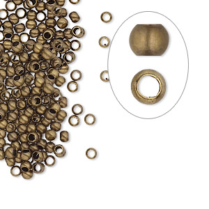 crimp, antique gold-plated brass, 2.5mm round, 1.5mm inside diameter. sold per pkg of 500.