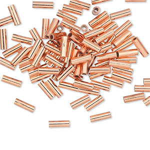 crimp, copper, 6x2mm seamless tube. sold per pkg of 100.