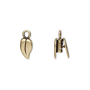 crimp end, jbb findings, antiqued brass, 10x6mm double-sided leaf, 2mm inside diameter. sold per pkg of 2.