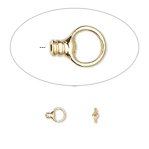 crimp, gold-plated brass, 2.5x1.5mm tube with loop, 0.5mm inside diameter. sold per pkg of 10.