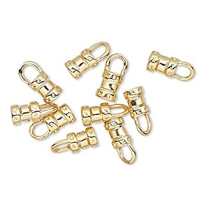 crimp, gold-plated brass, 6x4.5mm tube with loop, 3mm inside diameter. sold per pkg of 100.