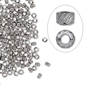 crimp, gunmetal-plated brass, 2.5x1.5mm corrugated round, 1.2mm inside diameter. sold per pkg of 100.