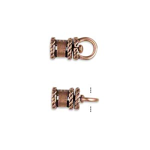 crimp, jbb findings, antique copper-plated brass, 10x6.5mm tube with swivel, loop and rope trim design, 4mm inside diameter. sold per pkg of 2.