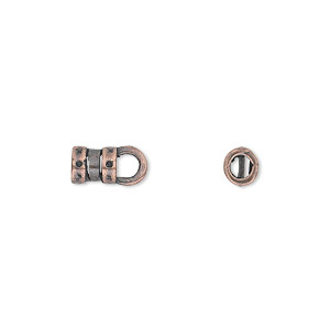 crimp, jbb findings, antique copper-plated pewter (tin-based alloy), 6x5mm with loop and 2.75mm inside diameter. sold per pkg of 2.