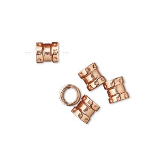 crimp, jbb findings, copper-plated brass, 6.5x6mm tube, 4mm inside diameter. sold per pkg of 4.