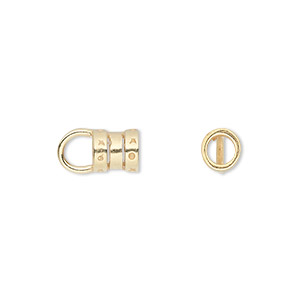 crimp, jbb findings, gold-plated pewter (tin-based alloy), 7x6mm with loop and 4mm inside diameter. sold per pkg of 2.