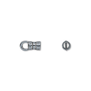 crimp, jbb findings, gunmetal-plated pewter (tin-based alloy), 6x4mm with loop and 2.5mm inside diameter. sold per pkg of 2.
