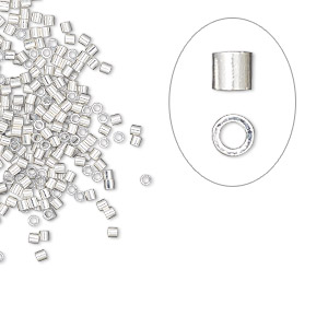crimp, silver-plated brass, 1.1x1mm micro cut tube, 0.7mm inside diameter. sold per pkg of 1,000.