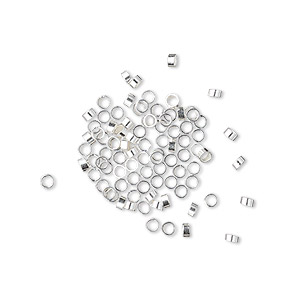 crimp, sterling silver, 2x1mm cut tube with heavy wall, 1mm inside diameter. sold per pkg of 100.