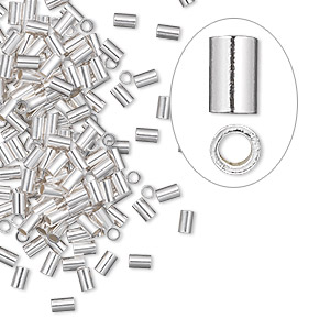 crimp, sterling silver, 3x2mm cut tube with heavy wall, 1mm inside diameter. sold per pkg of 10.