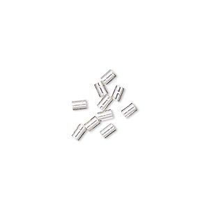 crimp, sterling silver, 3x2mm twisted, 1mm inside diameter. sold per pkg of 10.