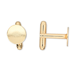 cuff link, gold-finished brass, 12mm flat round pad. sold per pkg of 2 pairs.