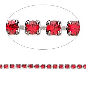 cupchain, glass rhinestone and gunmetal-plated brass, light red, 2mm round. sold per pkg of 1 meter, approximately 320 cups.