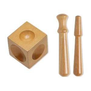 dapping block and punch, wood, 2 x 2 x 2-inch block with (2) 4-1/2 inch punch. sold per 3-piece set.