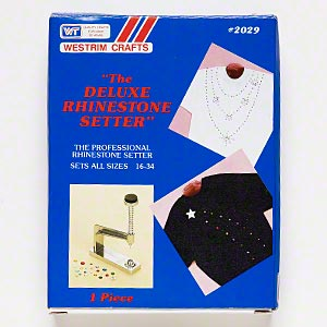 deluxe rhinestone setter, westrim, zinc alloy and steel, 6-1/4 x 4-1/2 x 1-1/4 inches, sets sizes ss16 to ss34 rhinestones in prong settings. sold individually.