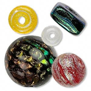 dichroic glass mixed smooth beads, mixed color/shape/size, approx. 7-24mm. pkg of 5.
