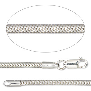 dione easy-on chain, sterling silver, 2.4mm snake, 7 inches with lobster claw clasp. sold individually.