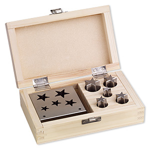 disc cutter, steel and wood, 3 x 3 x 1-inch base for cutting 13x12mm-24x23mm stars. sold per 6-piece set.